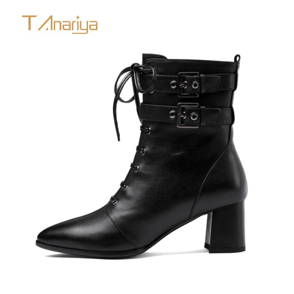 Tanariya nueva llegada zapatos mujer botas nuevas OtoñoInvierno 2019 botas de encaje Martin con tacones grandes para las mujeres