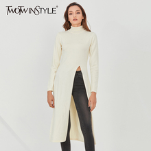 TWOTWINSTYLE Beige Slim Knitting Pullovers For Women Turtleneck Long Sleeve Front Slit Sweater Female 2020 Fall Clothing Tide