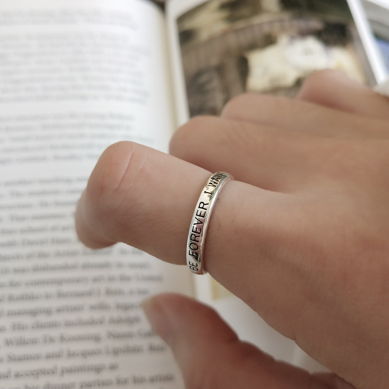 925 Sterling Silver Ring FOREVER Letters Opening Ring To Do Old Vintage Style Ring For Woman Fashion Jewelry Thumb Ring