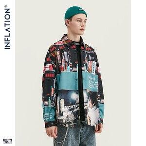 Image 3 - אינפלציה Loose Fit גברים חולצה 2019 FW Harajuku דיגיטלי הדפסת גברים חולצות ארוך שרוול היפ הופ גדול גברים חולצות חולצה 92156W