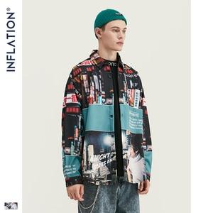 Image 3 - Şişirme gevşek Fit erkek gömlek 2019 FW Harajuku dijital baskı erkekler gömlek uzun kollu Hip Hop boy erkekler gömlek Tops 92156W