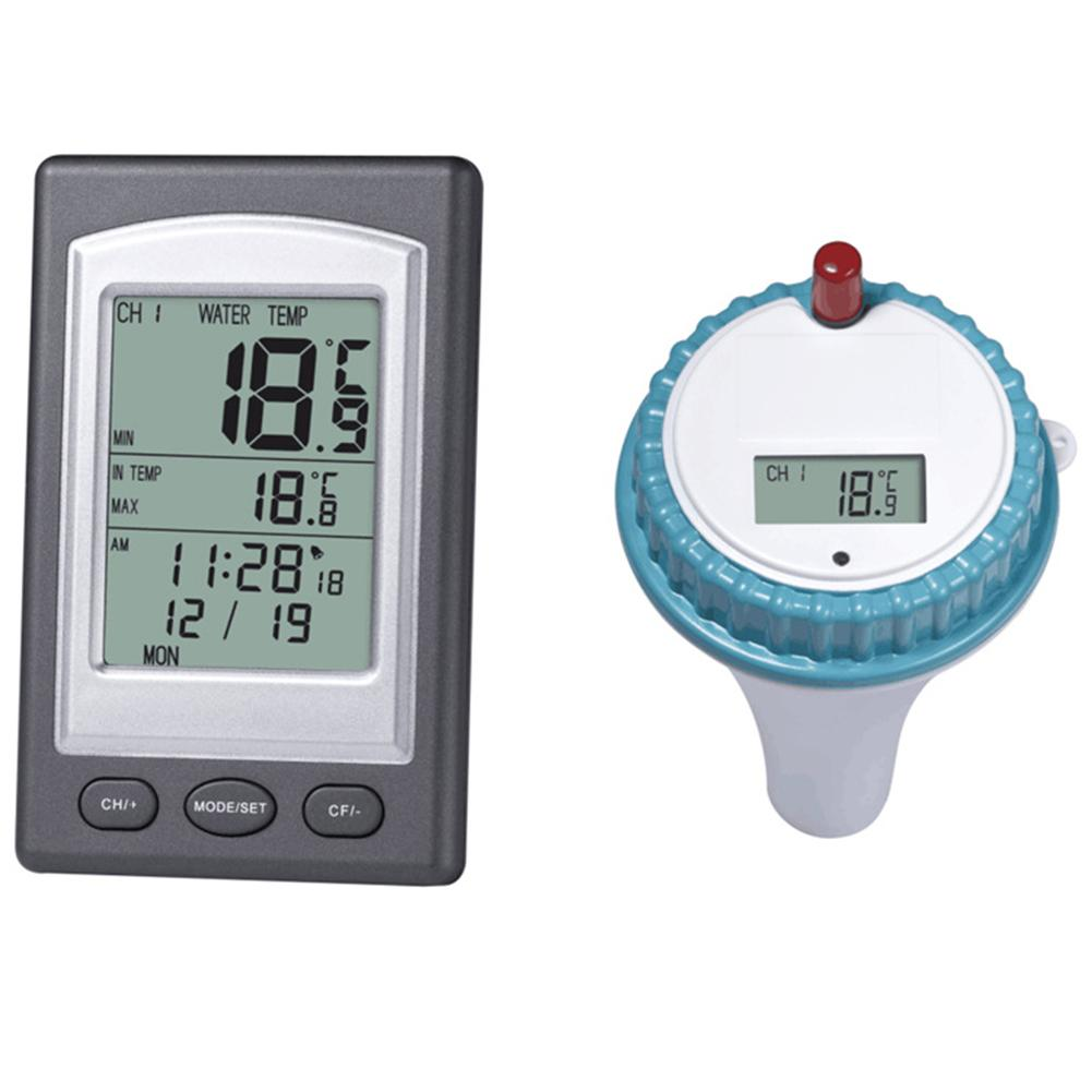 Wireless Digital Solar Energy Pool Thermometer SPA Floating Temperature Meter With 3 Channels / Time Alarm / Calendar