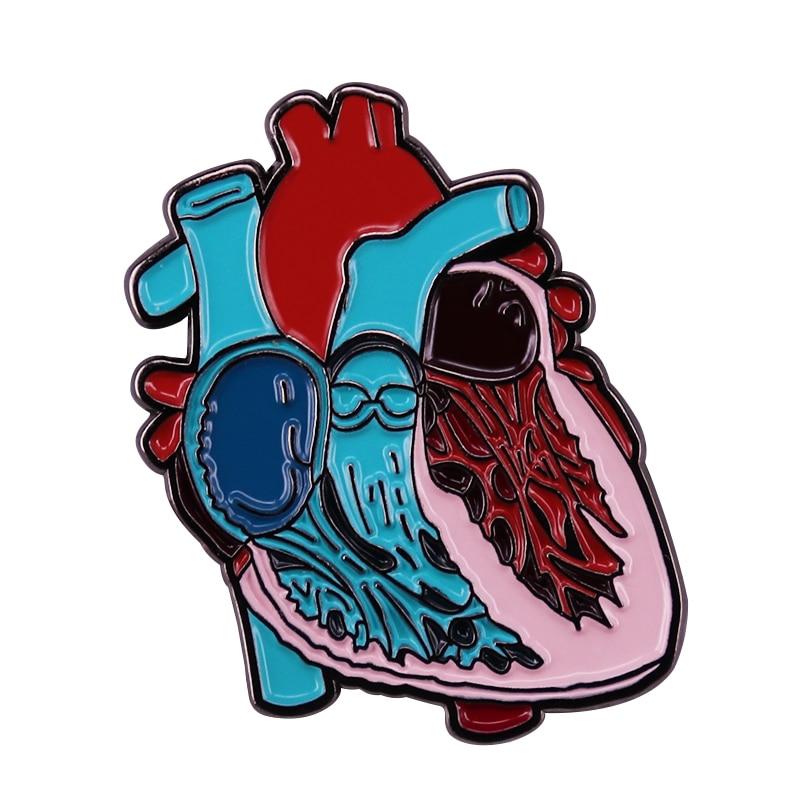 Science Biology CHD Awareness Brooch Anatomical Heart Art Pin Nurse Medical Student Realistic Decor