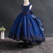 Flower Girls Dress Lace Bow Elegant Princess Dress Kids Dresses For Girls Wedding Party Gown Children Clothing 2 8 10 11 12 Year satin girls party dresses elegant autumn three quarte flower lace bow princess girl dress children kids wedding birthday dresses