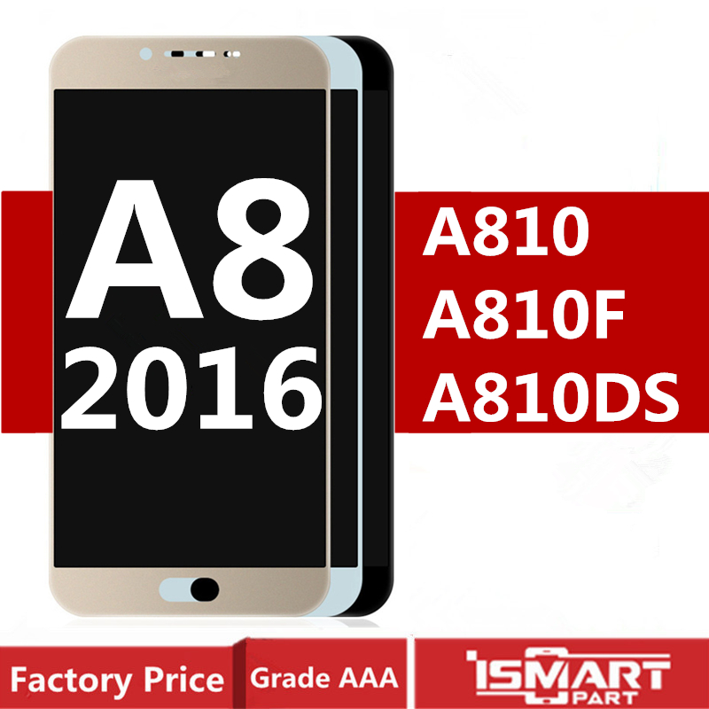 Test Good For <font><b>Samsung</b></font> Galaxy A8 2016 <font><b>LCD</b></font> Display with Touch Screen Digitizer full Assembly A8100 <font><b>A810</b></font> A810DS <font><b>LCD</b></font> Replacement image