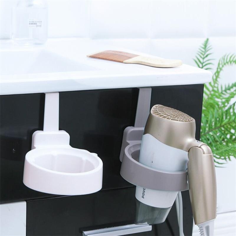 Plastic Hair Dryer Holder Wall Mount Hair Drier Stand Bathroom Wall Holder Shelf Storage Hairdryer Holder