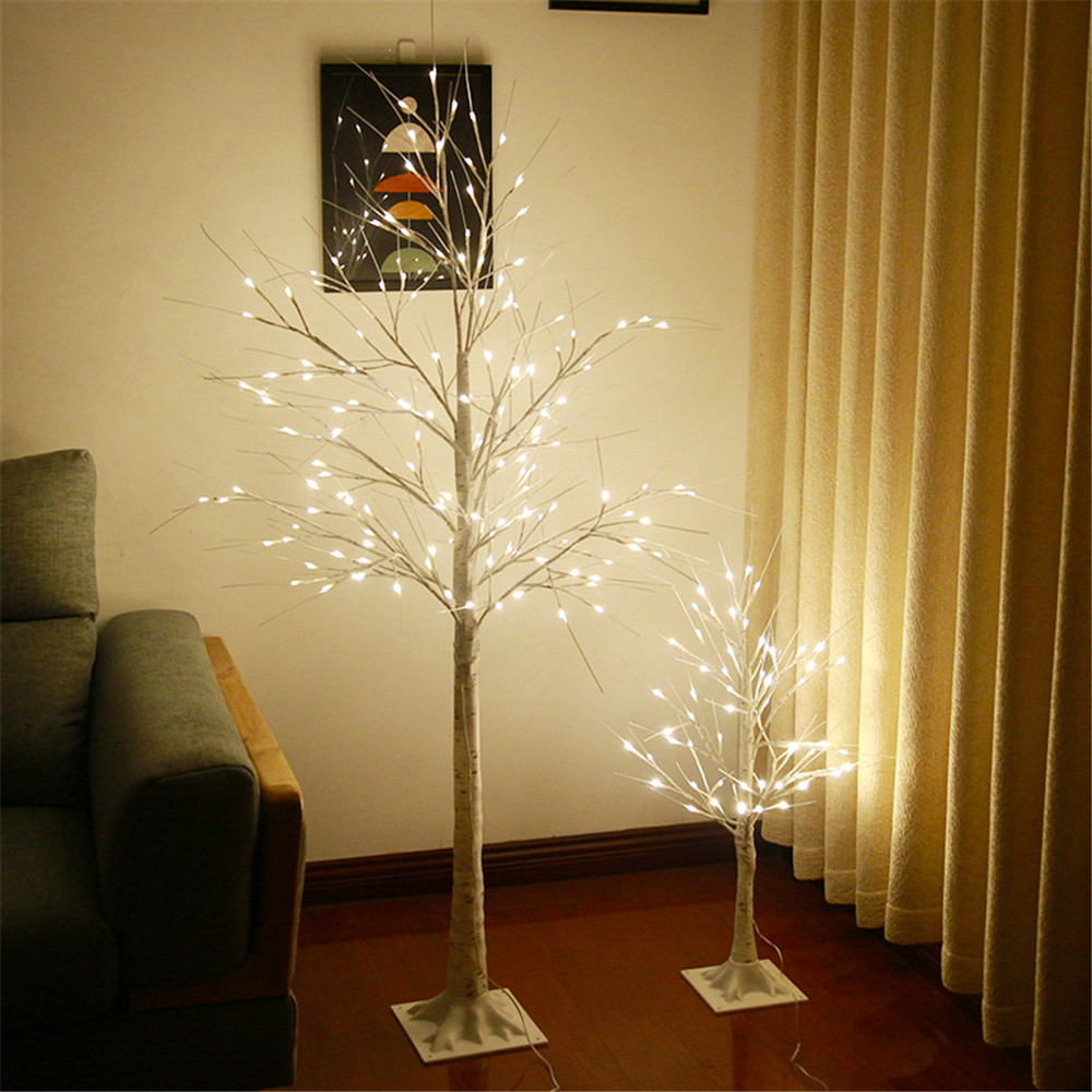 90CM LED Light Garland Silver Birch Festival Christmas Decoration For Home Indoor Warm White Tree Light Lamp USB Interface