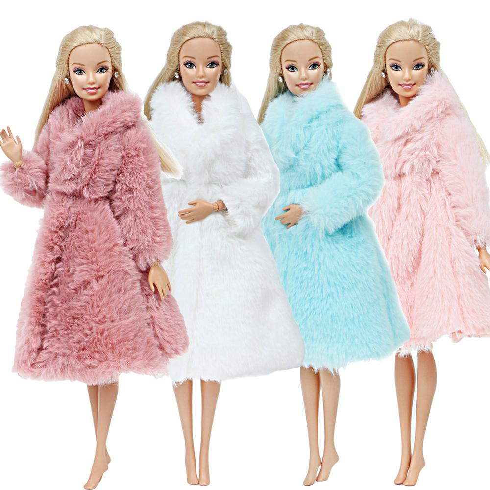 1 Pcs Handmade Elegant Lady Coat Dress Pink Sweater Fur Casual Daily Wear Outfit Clothes For Barbie Doll Accessories Best Toy
