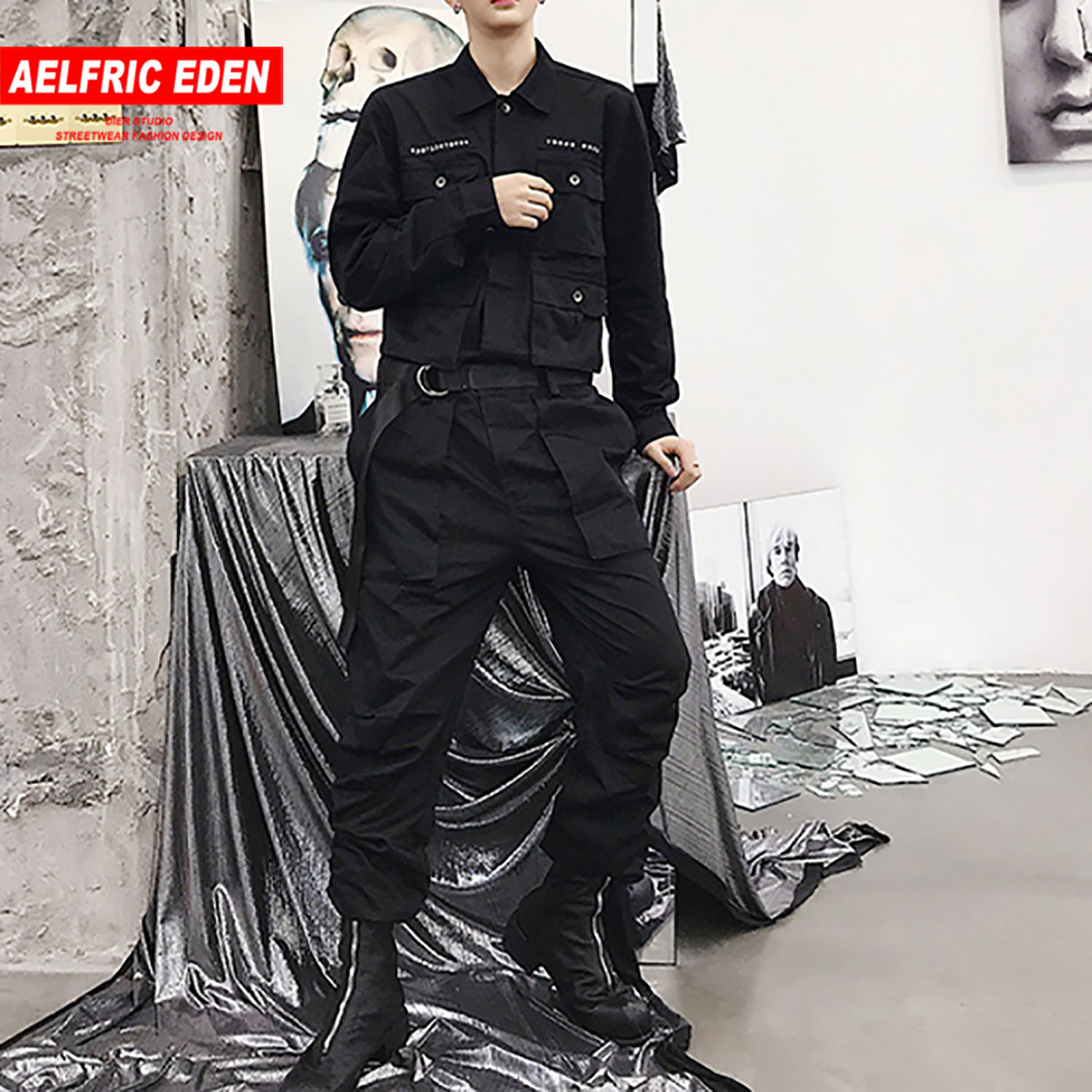 Aelfric Eden Hip Hop Streetwear Jumpsuit Men 2020 Fashion Multi Pockets Ribbons Cargo Pants Long Sleeve Rompers Joggers Techwear