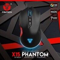 Fantech x15 게임용 마우스 7 버튼 4800 인치 당 점 마우스 usb 케이블 rgb e-스포츠 게임용 마우스 lol 게임 마우스