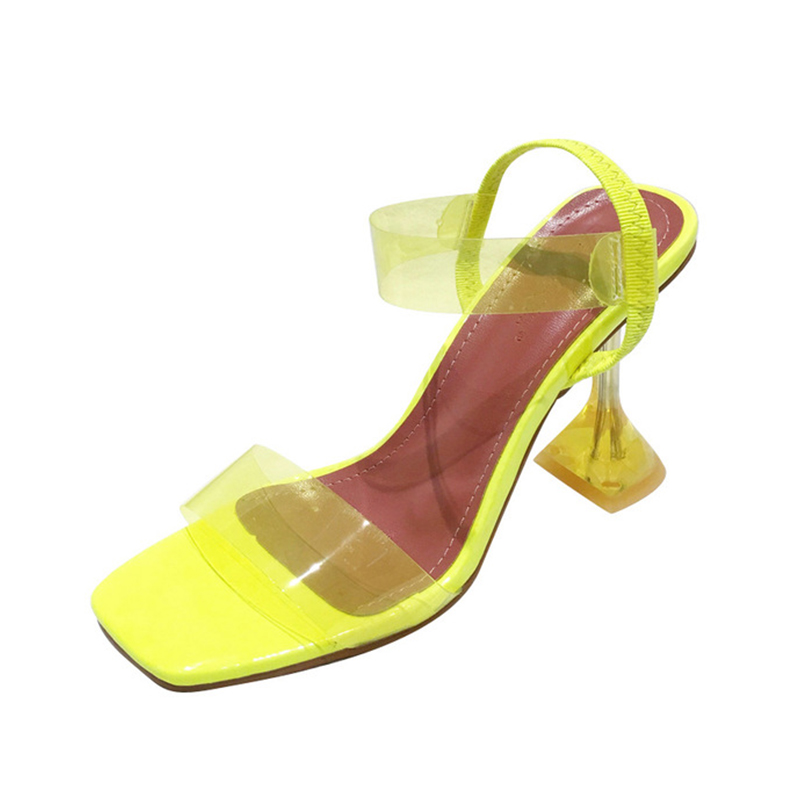 Summer Women Crystal Open Toe Jelly Sandals Ladies Elastic Band Sike High Heels Female Transparent Pumps Fashion Shoes 5