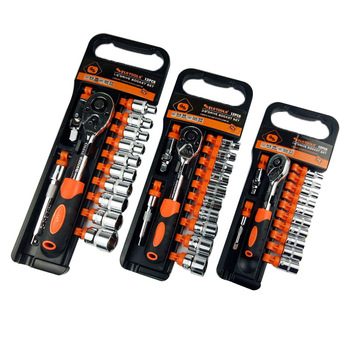 High quality 13pcs ratchet wrench set 1/4,3/8,1/2 quarter socket outfit spanner combination car mechanic tools image