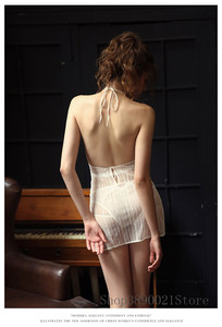 Image 5 - Women Sleepwear Sexy Night Dress with Panties Female Summer Thin Lace Temptation Style Perspective Backless Strap Nightdress