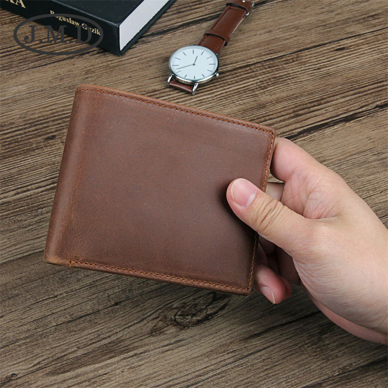 J.M.D New Arrival 100% Men's Fashion Leather Wallet Head Layer Cowhide Wallet Long Paragraph Wallet