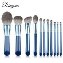 XINYAN, изысканные голубые кисти для макияжа, набор теней для век, порошок с деревянной ручкой, 11 шт., консилер, косметический инструмент для бро...