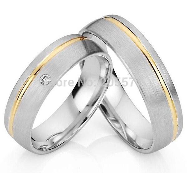 2014 mode classique bijoux couleur argent plaqué or incrustation titane fiançailles anneaux de mariage ensembles paire titan trauringe