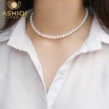 ASHIQI – collier ras de cou en perles d'eau douce naturelles pour femmes, bijoux en argent Sterling 925, cadeau, nouvelle mode, 2021