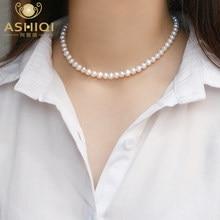 ASHIQI doğal tatlı su incisi Chokers kolye kadınlar için 925 ayar gümüş takı hediye yeni moda