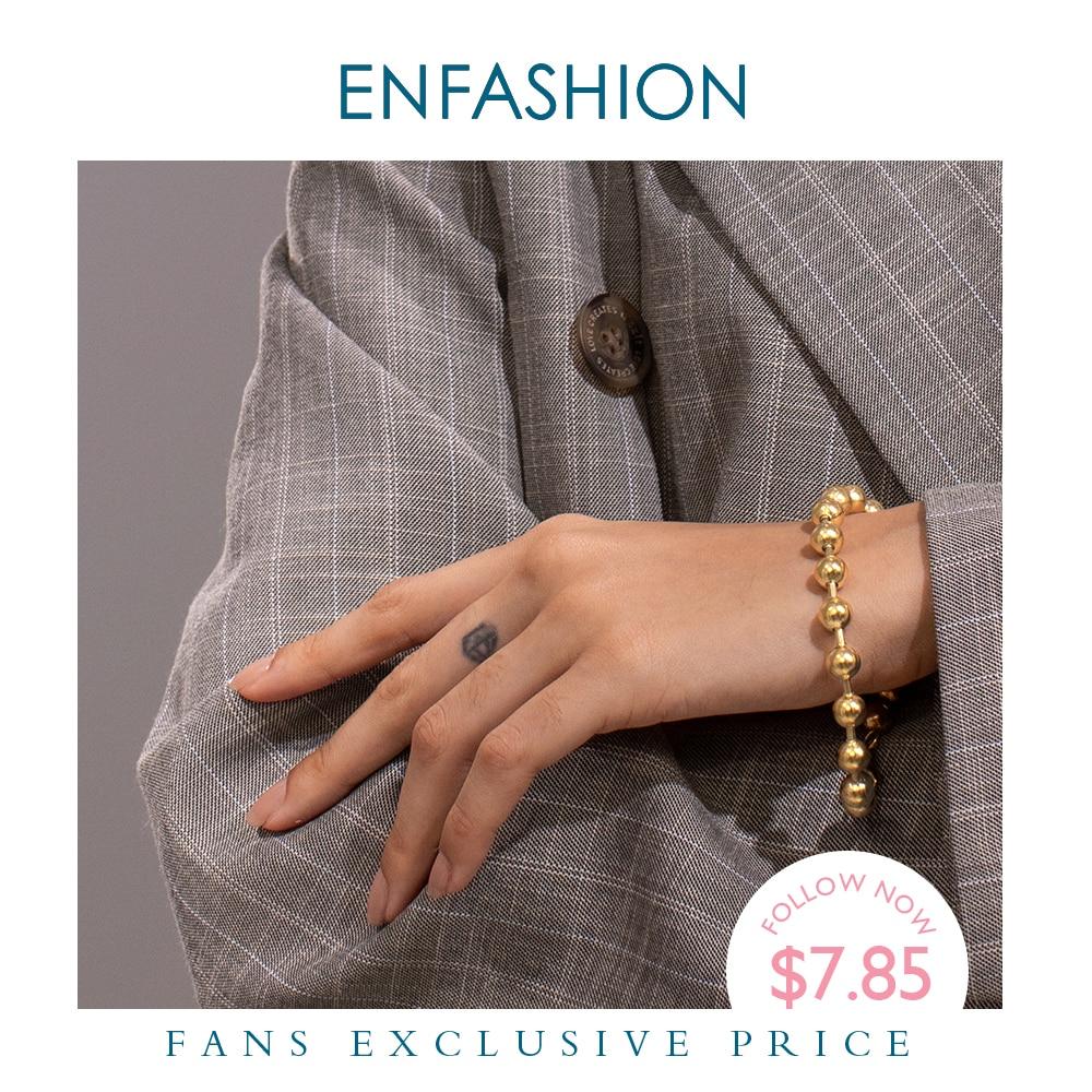 ENFASHION Bead Chain Bracelets For Women Stainless Steel Gold Color Hip Hop Ball Bracelet Rock Men Jewelry Dropshipping B192072