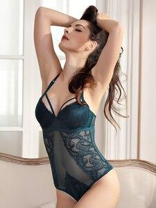Image 1 - תחרה בגד גוף נשים מרופד חזיית נוצת דפוס Underwire Lingere femme לדחוף את מלכת 3 צבעים סקסי ערכות הלבשה תחתונה ארוטית דובונים