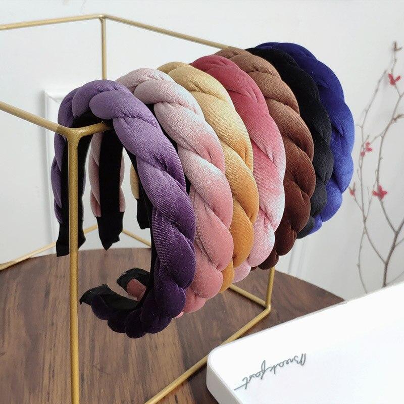 Fashion Velvet Braid Headband For Women Ponytail Hairband Women Hair Accessories Simple Elegant Black Bezel Hair Hoop