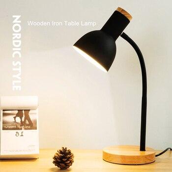 Creative Wooden Art Iron LED Folding Desk Lamp Desk & Table Lamps