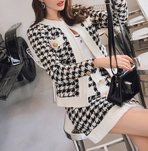 Kleine Geur Vintage Houndstooth Gebreide Jas Vest Jas + Bodycon Rok Pak Herfst Winter Office Lady Runway 2 Stuk Set(China)