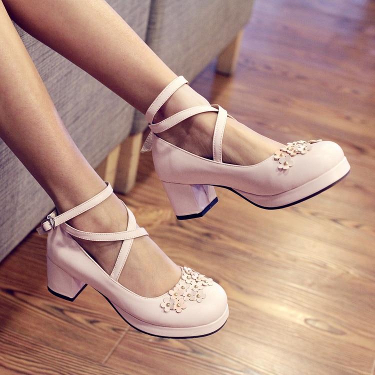Palace princess daily sweet lolita shoes cross bandage thick heel women shoes small flower kawaii leather shoes loli cosplay