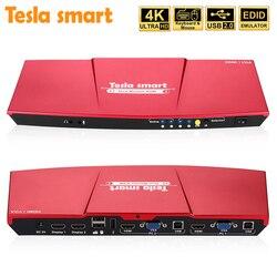 4K HDMI Monitor Dual KVM interruptor de Puerto 4 (2 puertos HDMI y VGA 2 Puertos) entrada 2 puertos salida HDMI KVM interruptor HDMI actualizado 4K @ 30Hz