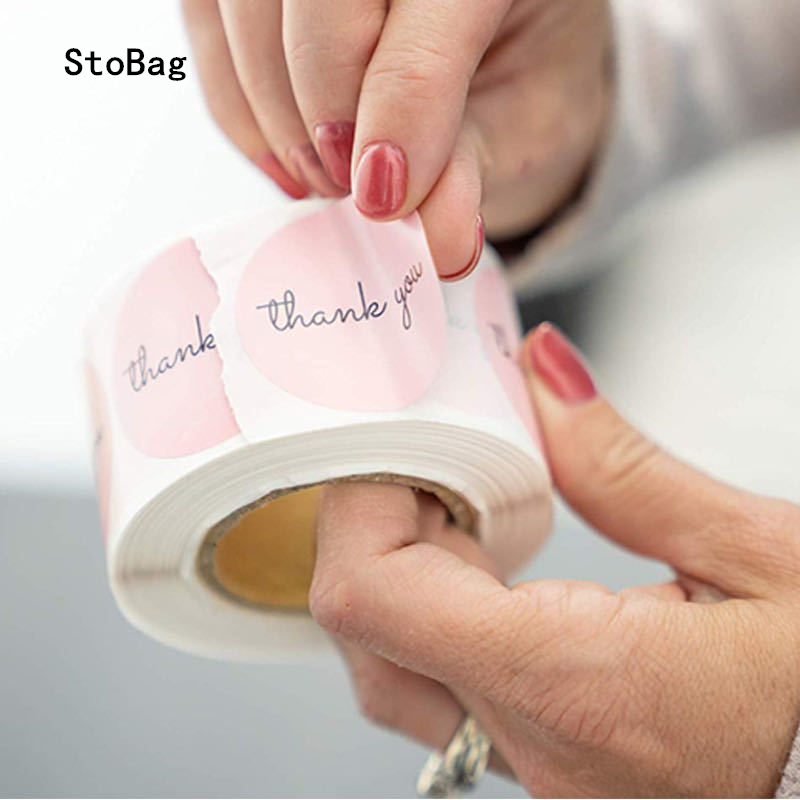 StoBag 500pcs Thank You Paper Stickers 1inch Pink Sticker For Wedding Birthday Party Favors Labels Mailing Supplies Festival