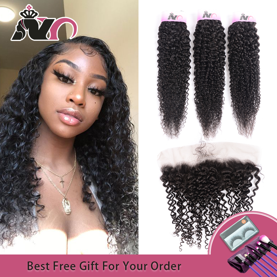 NY Hair Kinky Curly Wave Bundles With Closure Human Hair Bundles With Closure Curly Wave 3 Bundles With Ear To Ear Lace Frontal