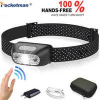 5000 lumen LED Scheinwerfer scheinwerfer Wiederaufladbare Körper Motion Sensor Kopf Licht Lampe Ultra Helle Beste Mit USB Camping, angeln
