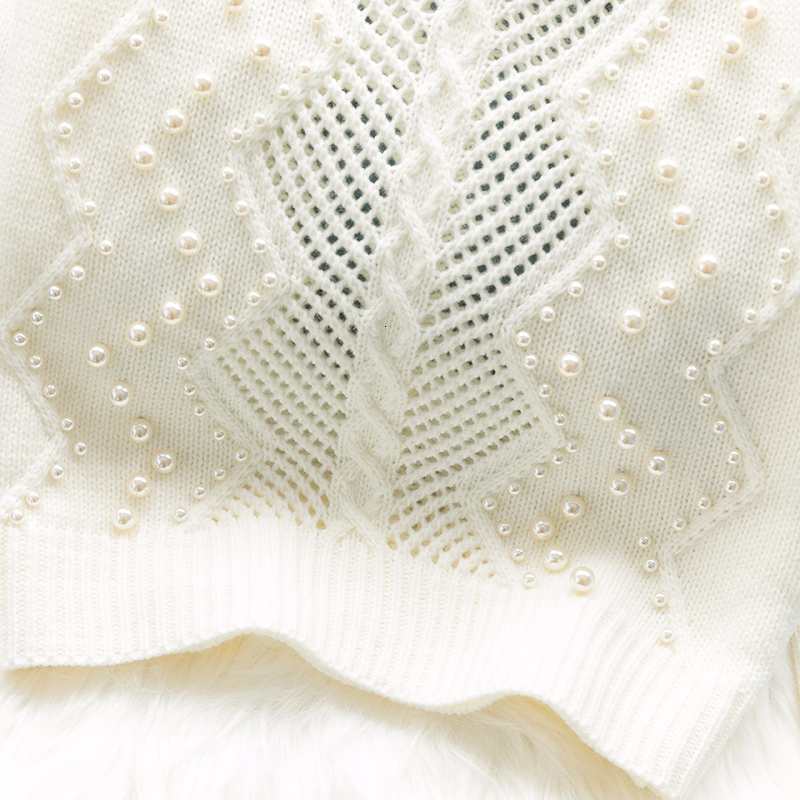 Image 4 - Pearls beading white sweater women knitted hollow out Pullover  loose lazy sweaters basic tops 2019 autumn and winter new  arrivalPullovers
