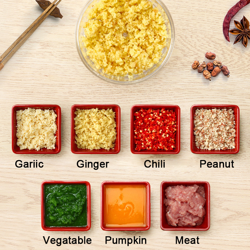 Mini Food Garlic Vegetable Grinder Chopper Mincer Crusher Press for Meat Nuts Pepper Onion Multi function Manual Food Processor