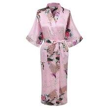 Изысканный принт Павлин, цветок женский свадебный халат кимоно платье повседневное Половина рукава банное платье пижамы летняя длинная домашняя одежда