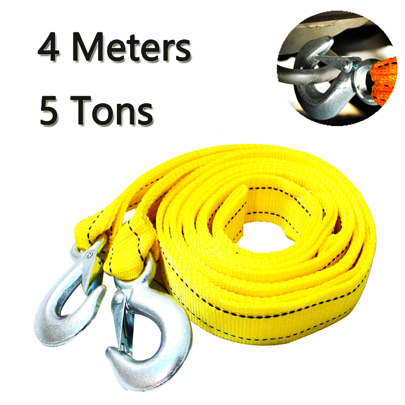 4M Heavy Duty 5 Ton Car Tow Cable Towing Pull Rope Strap Hooks Van Road Recovery title=