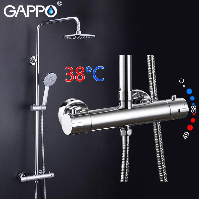 GAPPO thermostatic shower faucet chrome color bathroom bath shower mixer set waterfall rain shower head bathtub faucet taps