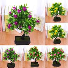 1Pc Potted Artificial Flower Bonsai Stage Garden Wedding Home Party Decor Props Vivid Color Beautiful Non-fading
