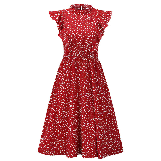 Summer Women Dress Lovely Print Chiffon Loose Dress Red Polka Print Pure And Sweet Dresses Fashion Ruffled Tea Break Dress 2021 4