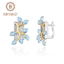 Earrings Blue Topaz Ballet-18k GEM'S Gold 925-Silver Two-Tone Natural Woman Over Madagascar