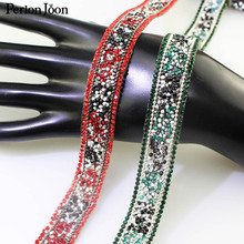 1.7cm width colorful crystal rhinestone decoration ribbon red green mixed iron o