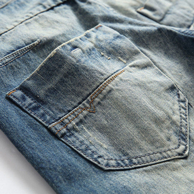 Fashion Retro Destroyed Men Jeans Slim Fit Classical Denim Pants Embroidery Patches Ripped Jeans Men Streetwear Hip Hop Jeans 50