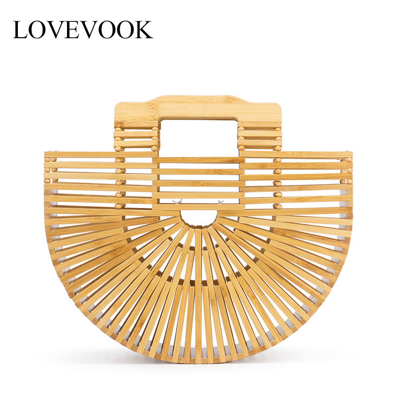 Lovevook Women Bamboo Bags Summer Bags For Travel Handmade Woven Beach Bags Luxury Handbags Women Bags Designer With Top-handle