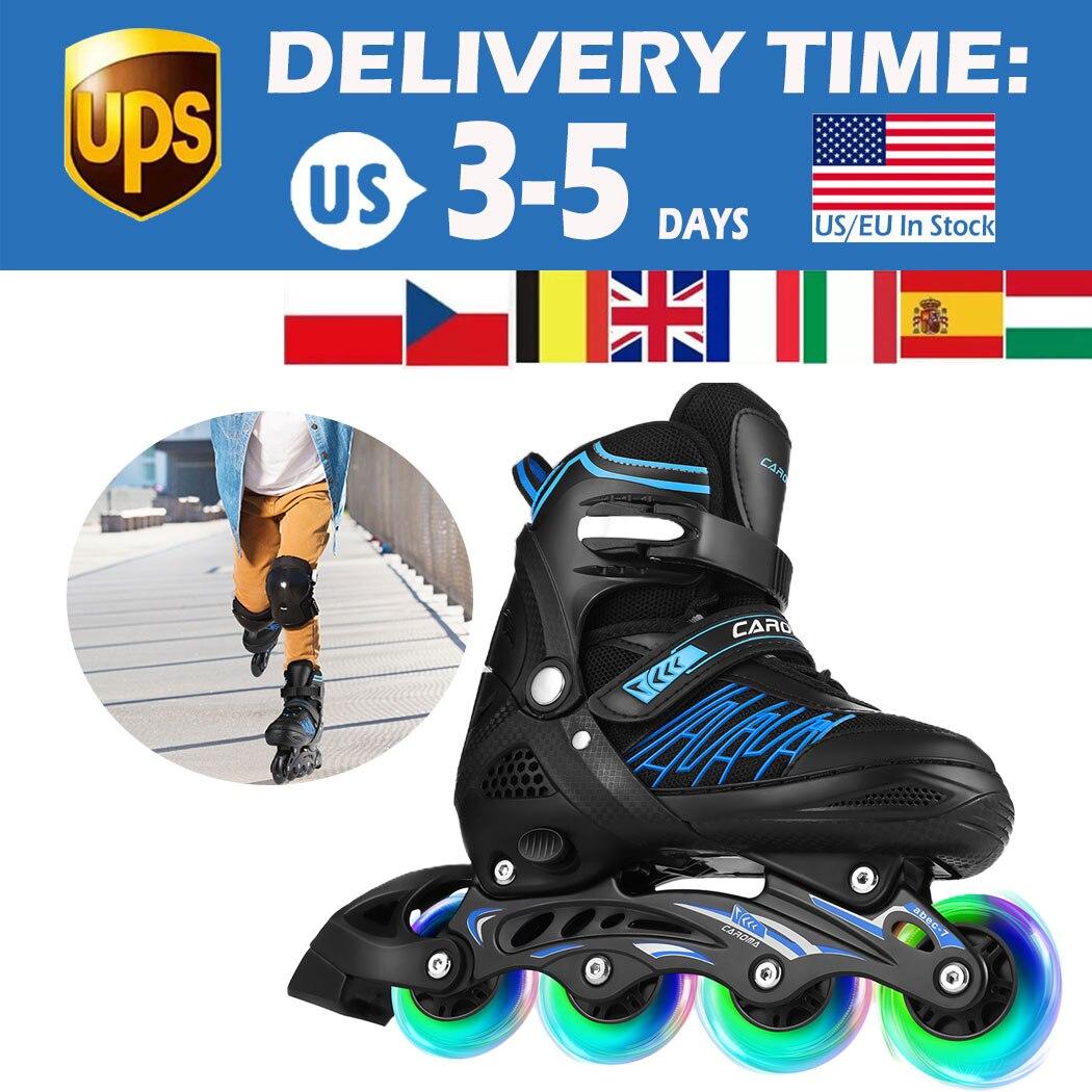 Patins à roues alignées réglables de patin à roulettes de garçons de filles denfants avec quatre roues éclairantes dunité centrale 82A et maille de bonne qualité, Aluminium Br