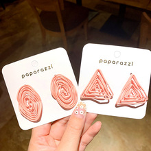 Korea Girl Fashion Statement Earrings Summer Fruit Green Geometric Flowers Round Triangle Stud Multicolor for Women