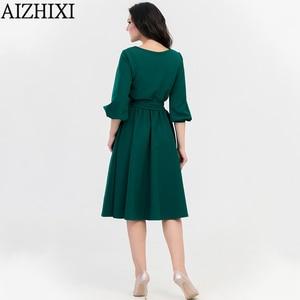 Image 3 - AIZHIXI Vintage katı cep Sashes evaze elbise İlkbahar yaz kadın rahat o boyun fener kollu elbise zarif parti elbiseler