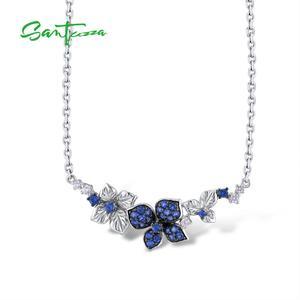 Image 1 - SANTUZZA כסף שרשרת לאישה אמיתי 925 כסף סטרלינג אלגנטי פרפרי שרשרת כחול לבן CZ המפלגה תכשיטים