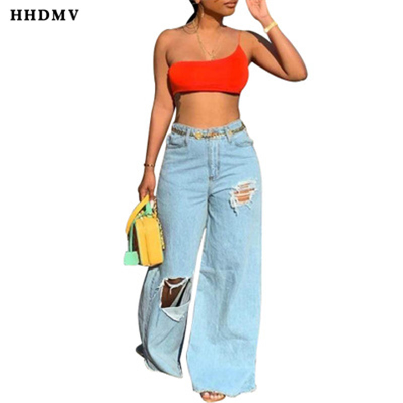 HHDMV SFY060 personality reduction of age hip hop style long denim pants high waist buttons broken hole denim wide-legged pants