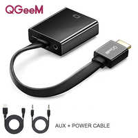 QGeeM HDMI to VGA adapter Digital to Analog Video Audio Converter Cable 1080p for Xbox 360 PS3 PS4 PC Laptop TV Box Projector