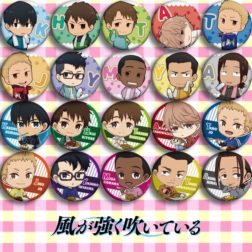 Japan Anime Kaze Ga Tsuyoku Cosplay Badge Cartoon Collection Bags Badges For Backpacks Button Clothes Brooch Pins Gifts